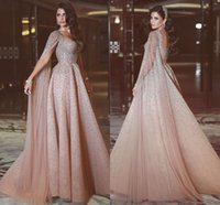 Wholesale high end red evening dresses - Free Shipping New High-end Custom Elegant Champagne Heavy Manual Shawl Prom Dresses European And American Long Red Carpet Evening Dresses