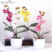 vasos para decorações de mesa venda por atacado-1 conjunto phalaenopsis vaso de flores de orquídea artificial com folha de espuma e vaso de plástico simulação decoração da flor para a mesa em casa