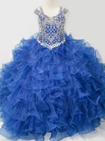 ingrosso gonna di garza blu-Girl's Pageant Dresses 2019 Colletto a cuore, doppia spalla, garza blu di Eugen, gonna pesante in pengpeng fatta a mano, chiusura posteriore.