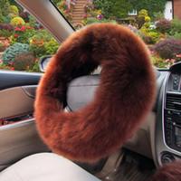 ingrosso ruota della pelliccia-2018 Cheap peluche lunga Steering caldo copertura di rotella di lana del freno a mano dell'automobile accessori auto Fur 3pc