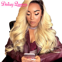 Wholesale 1b 613 front wig online - Ombre b Lace Front Human Hair Wigs With Baby Hair Body Wave Brazilian Full Lace Wig Remy Hair Pre Plucked Natural Hairline