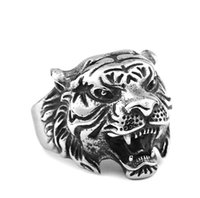 Wholesale Tiger Ring Band - Fashion 316L Stainless Steel Titanium Tiger Head Ring Men Personality Unique Men's Animal Jewelry good detail
