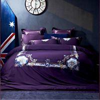 lila ägyptischen baumwollbettwäsche großhandel-Ägyptische Baumwollstickerei der Stickerei-800TC Bettwäsche-Luxuxgeschenk-erwachsene Bettwäschesatz Königin / Königgröße Viole purpurrotes rotes weißes Bettlaken-Set