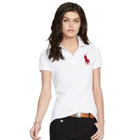 Wholesale striped pocket shirt - 2018 new Women Polo Shirt Badge Embroidery Short Sleeves Polo Flat Collar Female Brand Clothes Lycra Soft Polo Shirts free shipping