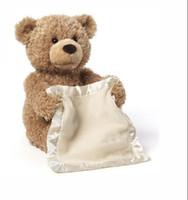 peek boo toys al por mayor-Peek a Boo Teddy Bear Play Hide And Seek Stuffed Kids Regalo de cumpleaños 30 cm Lindo osito de peluche de peluche con bolsa de compras