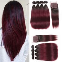 Wholesale hair extensions red colors - Peruvian Ombre 1B 99J Straight Virgin Hair 4 Bundles With Lace Closure Burgundy Wine Red Weave Extensions 1B 99j Straight Human Hair Vendors