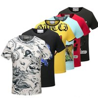 Wholesale Floral Pocket T Shirt - Europe Summer Fashion Men's Casual Cotton tshirt tiger head snake letter floral print short sleeve T Shirts Slim male t shirt