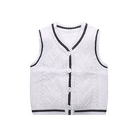 Wholesale todder boys - Knitted Baby Boys Vest Sweater 6-18M Todder Baby Sweater Vest V-Neck Classic Boys Girls Spring Autumn Boy Clothing