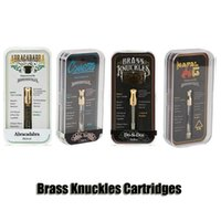 Wholesale brass knuckle gold online - Connected Abracadabra Brass Knuckles Cartridges Gold Glass Tank ml Dual Cotton Ceramic Coil Thick Oil Atomizer With Flavour Sticker