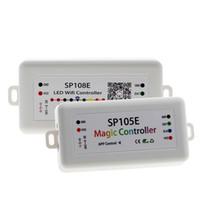 soporte del controlador al por mayor-DC5-24V SP105E SP108E Magic Controller Bluetooth 2048 Píxeles para WS2811 2812 2801 6803 IC LED Tira IOS / Android APP
