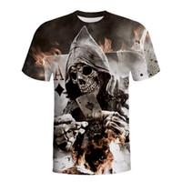 Wholesale Skull Womens Shirts - Harajuku Womens Mens Joker Poker 3D Print T Shirts Skull Printed Casual Short Sleeve Hip Hop T-shirt