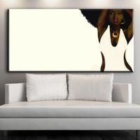 pinturas de arte de parede preta venda por atacado-XX708 Arte Da Parede Africano Americano Preto Retrato Abstrato Da Arte Da Lona Afro Mulheres Pintura Da Lona Cartaz para Decoração Da Parede Da Sala