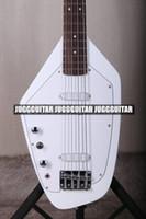 белые гитарные струны оптовых-Редкие 4 строки 60s Vox Phantom IV Белый электрическая бас-гитара твердого тела клен шеи Палисандр гриф, Белый накладку, хром оборудование