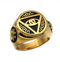 Wholesale gold filled mens ring - hip hop mens Illuminati The All-seeing-eye illunati pyramid eye symbol Tone Gold Color 316L Stainless steel Signet Ring