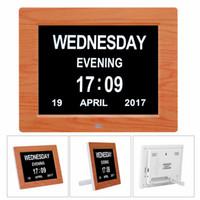 große timer-uhren großhandel-Neue 8 '' LED Demenz Digitaler Kalender Tag / Woche / Monat / Jahr Uhr Großbuchstaben Geschenke LCD Display Wandbrause Uhr Küchentimer
