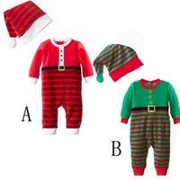 yeşil bebek kıyafeti toptan satış-Bebek Noel Giysileri Set INS Çocuklar Kış Tulum Şapka Takım Kırmızı Yeşil Çizgili Tulumlar Toddler Uzun Sleeeve Bodysuits Giyim AAA1061