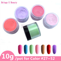 ingrosso colori del chiodo della bottiglia-10g / Bottle Colors 27-52 Dipping Powder senza lampada Cure Nails Dip Powder Gel Nail Colore Natural Dry Beauty Nail Art