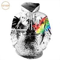 dünne weiße krawatte großhandel-ISTider Hip Hop Männer Frauen Spritzen Tinte Rainbow Eagle 3D Hoodies Kühle Tie-Dye Schwarz Weiß Kapuzenpulli Herbst Winter Dünne Tops
