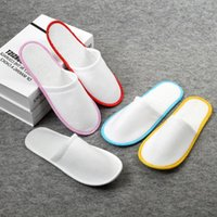 Wholesale disposable shoe slippers for sale - High quality Hotel Travel Disposable Indoor Slippers sandals disposable shoes pairs T2I030