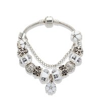 armband silberner schädel 925 großhandel-Weiße Kirschblüten Anhänger Armband 925 Silber Schädel Charm European Beads Armband für Frauen Schmuck DIY