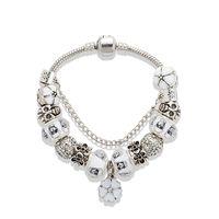 Wholesale blossom jewelry for sale - White Cherry blossoms Pendant Bracelet silver Skull Charm European Beads Bracelet for Women Jewelry DIY