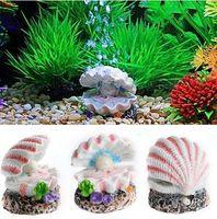 milieux d'aquarium achat en gros de-Shell Pearl Air Pierre Aquarium Fish Tank Ornement Shell Bubbler Décor Bubbling Aquarium Décoration Aquarium Contexte