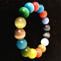 Wholesale bracelet semi precious stones online - 6mm mm mm Multi Color Cat Eye Charm Bracelet Semi Precious Stone Round Beads Bracelet For Women Bridal Jewelry Love Gift