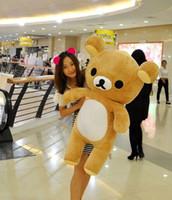ingrosso grande teddy marrone-60cm Kawaii grande marrone giapponese stile rilakkuma peluche teddy bear farcito bambola animale regalo di compleanno spedizione gratuita