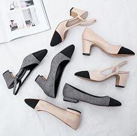 mesdames été talons achat en gros de-Designer Femmes Chaussures D'été Chaussures 65mm Talons Hauts Slingback Beige Gris Noir Deux tons En Cuir Femmes Dames De Luxe Sandales Taille 34-41 Boîte