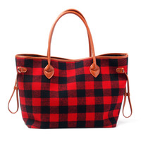 a cuadros de búfalo al por mayor-Cuero vegano withTweed Buffalo Plaid Tote Venta al por mayor Blanks Red Black String Purse White Black Check Large Shopping Bag Envío gratis DOM377