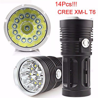 New Arrival Super 34000LM 14x CREE XM-L T6 LED Flashlight Torch 4x 18650 Hunting Light Lamp 14 PCS XM-L T6 Torch Light