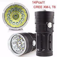 lámparas de caza cree al por mayor-Nueva llegada Super 34000LM 14x CREE XM-L T6 LED Antorcha de la linterna 4x 18650 Caza de la lámpara de luz 14 piezas XM-L T6 Antorcha de luz