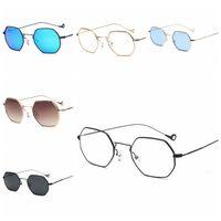 Wholesale western style frames resale online - Couple Square Metal Frame Sunglasses Western Style Colorful luxury Golden Sun Glasses Wide Gradient Coating Frame LJJD13
