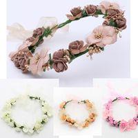 Wholesale ribbon head wreaths resale online - Elegant bridal garland headpiece flower hoop wreath headbands Korean style photography props beach party women head accessories silk ribbon