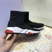 botas de nombre al por mayor-Nombre Calzado alto Unisex Calzado plano Calcetines de moda Botas Mujer Nuevo Slip-on Tela elástica Speed Trainer Runner 35-41 + CAJA + LOGO