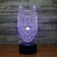 лампа с батарейным питанием оптовых-Новый волк 3D иллюзия ночник 3D оптическая лампа AA батареи USB питание 7 RGB свет DC 5 в Оптовая Бесплатная доставка