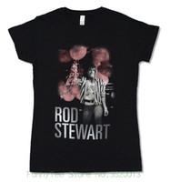 ingrosso camicia a maniche corte-Tee Rod Stewart Balloons Girls Juniors Maglietta nera Maglietta a maniche corte con nuovo design ufficiale