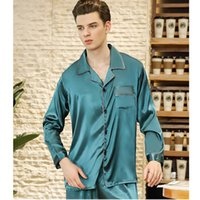 mavi olanlar toptan satış-Yeni Erkekler Saten Ipek Pijama Set Uzun Kollu Pijama Erkek Eğlence Ev Giyim Modern Stil Yumuşak Rahat Açık Dikiş Göl Mavi