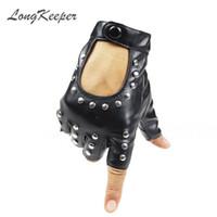 ingrosso guanti rivetti in pelle-LongKeeper Women Rivet PU Guanti in pelle Semi-Finger Mens Rivet Belt PU Guanti Sexy Ritaglio Fingerless G221