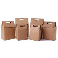 şeker lekeleri torba kutuları toptan satış-Yüksek Kaliteli Kraft Kağıt Torba Düğün Parti Lehine Şeker Hediye Kutusu Ile Taşınabilir Fold Çay gıda Kahverengi Ambalaj Çanta Kolları 1 2hq YY