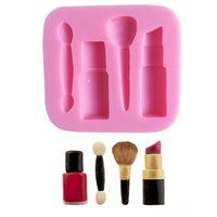 nagel verzieren großhandel-Makeup Tools Silikonform Lippenstift Nagellack Schokolade Party DIY Fondantform Kuchen Dekorieren Tools