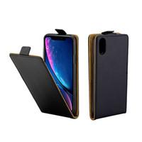 étui pour iphone de carte de visite achat en gros de-Etui en cuir pour iPhone XR Coque Vertical Flip Cover Cover Slot Cas pour iPhone XR 6.1 pouces sacs de téléphone portable