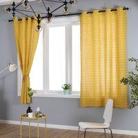 gelber schwarzer plaidstoff großhandel-Pastoralen Plaid Vorhänge Baumwolle Leinen Halb Verdunkelungs Wohnzimmer Kurze Vorhänge Für Kinderzimmer Schlafzimmer Küche Windows Decor