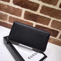 Wholesale new tops design korean online - New Top Quality Luxury Celebrity design Letter Metal Buckle Zipper wallet Cards Pack Cowhide Leather Black Long Purse Clutch
