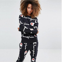 Wholesale Female Sports Wear - C brand 2017 autumn and winter male and female alphabet long sleeved leisure sports suit pink ripndip Athletic Wear