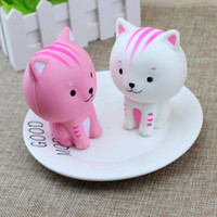 Wholesale rubber dolls sale resale online - Sale Jumbo Squishy Pink White Cat Kawaii Cute Animal Slow Rising Sweet Scented Vent Charms Bread Cake Kid Toy Doll Gift