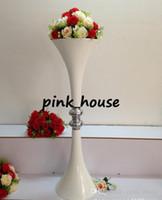 suporte de vaso alto venda por atacado-Alto casamento decoração flor stand / ferro forjado flor stand branco 1 metro de altura vaso de flores para enfeites de mesa de casamento