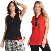 Wholesale red racerback tank - S M L Woman Dance vest Lace It Up Tank racerback army Trainning & Exercise T-shirts T512 black red