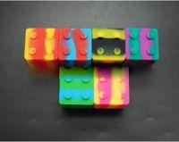 tupfenwachsöl bho jar großhandel-Slick Stack Lego-geformter 9ml Silikon-Quadrat-Bho-Ölbehälter-Silikontupfepackung für Konzentrate Wachs und BHO In Stock