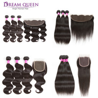 Wholesale 28 Water Wave Hair Extension - Brazilian Virgin Hair 3 Bundles Body Deep Water Wave Straight Kinky Curly With 13x4 Lace Frontal Or 4x4 Lace Closure Human Hair Extensions